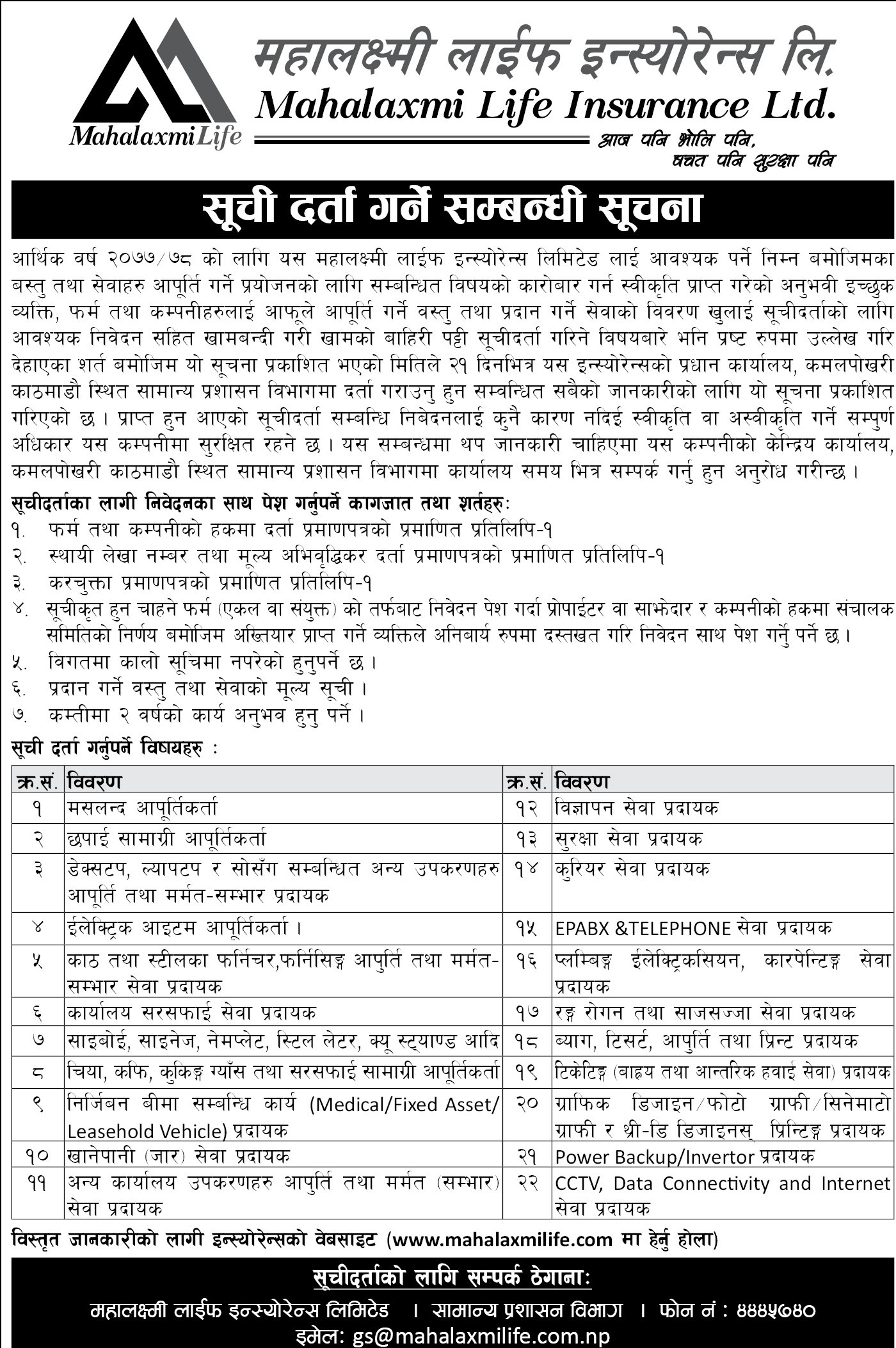 Tender Notice on Various Subject Matters