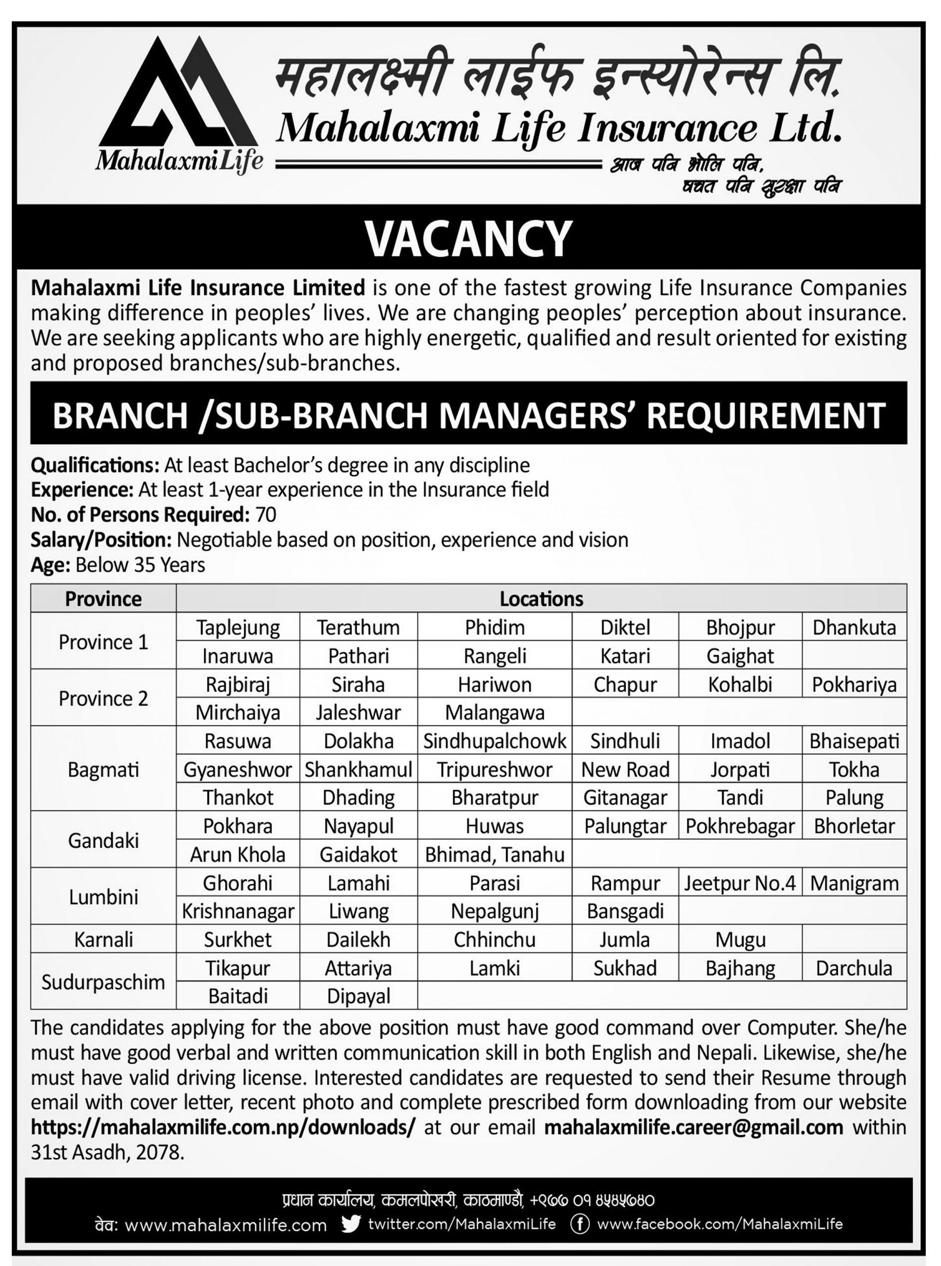 Mahalaxmi Life Insurance Ltd. announces vacancy announcement for various positionss
